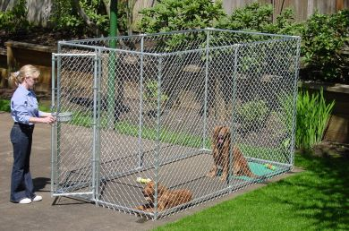 Heavy duty 2 in 1 chain link dog kennel enclosure 6 h x for Recinzione per cani da esterno