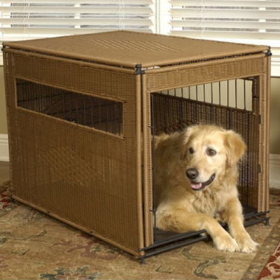 Wicker Dog Crate - Larger