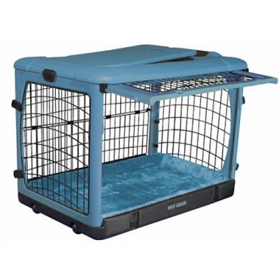 Deluxe Steel Dog Crate with Bolster Pad - Blue